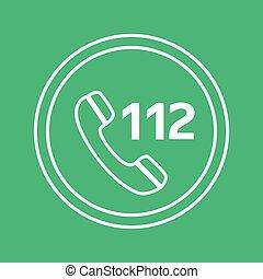 plat, urgence, toile, mobile, app, illustration, bouton, vecteur, conception, icône internet, blanc vert, cercle, appeler