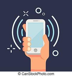 plat, usage, smartphone, illustration., appelle, communication mobile, main, téléphone portable, vecteur, conversation, social, networks., appeler, style., tenue