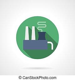 plat, usine, chimique, vecteur, rond, icône
