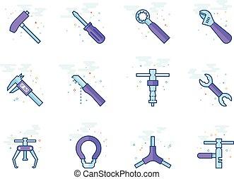 plat, vélo, icônes, couleur, -, outils