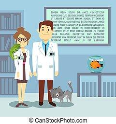 plat, vétérinaire, animaux, bureau, médecins