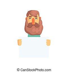 plat, vasthouden, beard., bruine , vrolijk, text., karakter, vrijstaand, meldingsbord, haar, message., vector, volwassene, mal, leeg, spotprent, mannelijke , jouw, lege, man