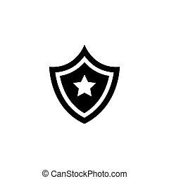 plat, vecteur, étoile, bouclier, icône