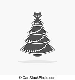 plat, vecteur, arbre, noël, icône