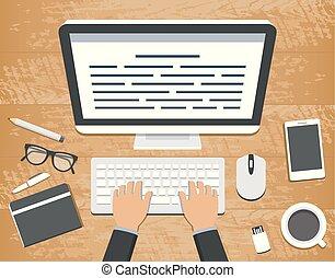 plat, vecteur, autour de, bureau, sommet bois, dactylographie, illustration, workplace., informatique, conception, objets, mains, clavier, bureau, sur, vue