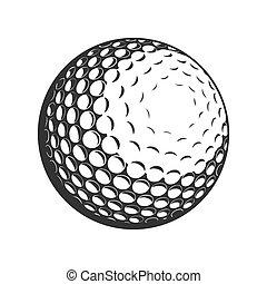 plat, vecteur, balle golf, icône