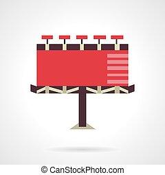 plat, vecteur, billboard., rouges, icône