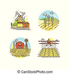 plat, vecteur, blé, paysages, ferme, étiquettes, eco, isolé, collection, éolienne, arrière-plan., naturel, produits, illustration, grange, logo, blanc, agriculture, cropfield, ligne, design.