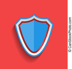 plat, vecteur, bouclier, protection, icône