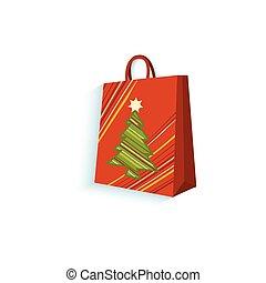 plat, vecteur, cadeau, isolé, sac, papier, présent