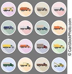 plat, vecteur, camion, illustration, icônes