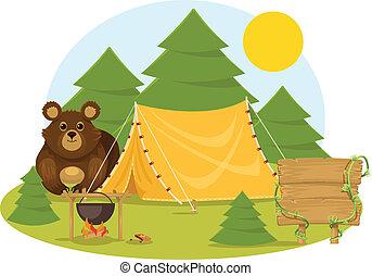 plat, vecteur, camping, stockage