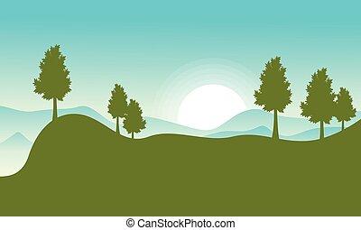 plat, vecteur, colline, paysage, soleil