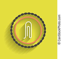 plat, vecteur, conception, agrafe, icône