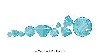 plat, vecteur, conception, illustration, diamants