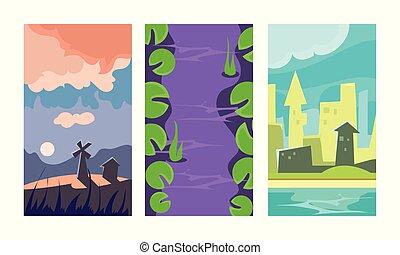 plat, vecteur, ensemble, de, 3, vertical, arrière-plans, pour, ligne, mobile, game., dessin animé, scène, à, éolienne, pourpre, rivière, et, cityscape