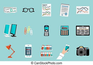 plat, vecteur, ensemble, de, bureau, choses, équipement, objects.