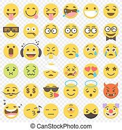 plat, vecteur, ensemble, grand, 2, emoji