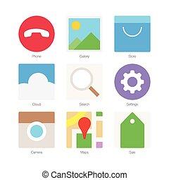 plat, vecteur, ensemble, icônes, 2, minimal