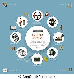 plat, vecteur, ensemble, service, affiche, infographic, voiture