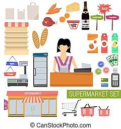 plat, vecteur, ensemble, supermarché, icônes