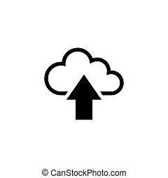 plat, vecteur, envoyer un fichier par transfert de données en une ordinateur, nuage, icône