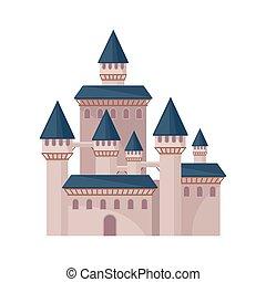 plat, vecteur, fortress., tours, grand, royal, roofs., élevé, grand, livre, château, conte, fée, élément, conique, enfants