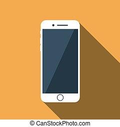 plat, vecteur, icône, téléphone