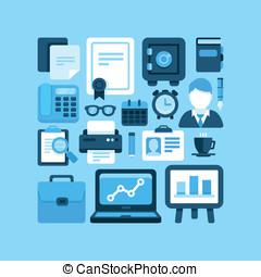 plat, vecteur, ico, bureau affaires