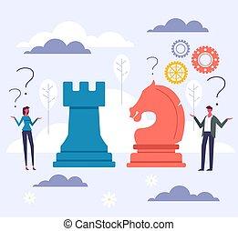 plat, vecteur, illustration, échec mat, conception, stratégie, entrepreneur, dessin animé, graphique, business, concept.