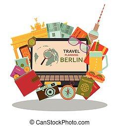 plat, vecteur, illustration., concept., berlin, planification, voyage