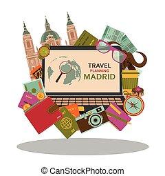 plat, vecteur, illustration., madrid, voyage, planification, concept.