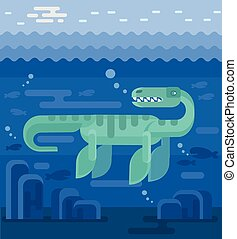 plat, vecteur, illustration, plesiosaur