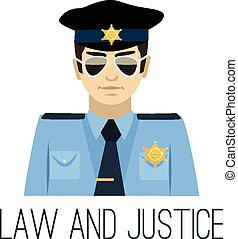 plat, vecteur, illustration, policier