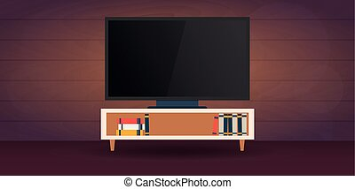 plat, vecteur, illustration., tv., regarder