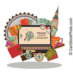 plat, vecteur, illustration., voyage, planification, londres, concept.