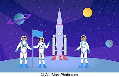 plat, vecteur, interstellaire, drapeau, planète, voyage ...