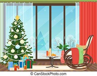 plat, vecteur, livingroom, illustration., nouveau, noël, arbre., année, intérieur, dehors., chaise, balancer, paysage, hiver