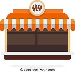 plat, vecteur, magasin, isolé, café, extérieur