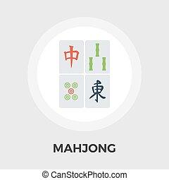 plat, vecteur, mahjong, icône
