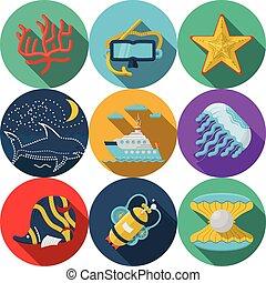 plat, vecteur, mer, loisir, icônes