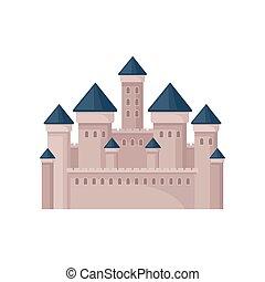 plat, vecteur, moyen-âge, tours, castle., royal, roofs., grand, mobile, jeu, livre, enfants, conique, ou, forteresse, carte postale