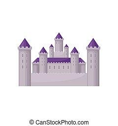 plat, vecteur, moyen-âge, tours, château, enfants, élevé, pourpre, jeu, livre, conte, mobile, fée, roofs., conique, ou, bâtiment.