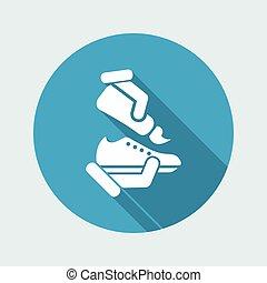 plat, -, vecteur, nettoyage, chaussure, icône