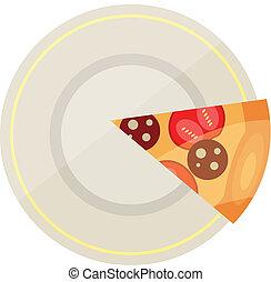 plat, vecteur, pizza, icône