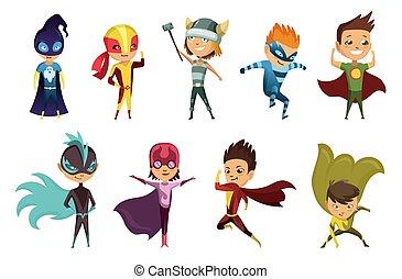 plat, vecteur, pose, coloré, rigolote, habillé, superhero, mignon, icônes, blanc, conception, superheroes., différent, porter, gosses, isolé, costumes, ensemble, arrière-plan., costumes.