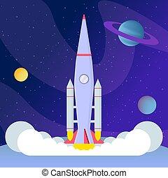 plat, vecteur, programme, expédition, fusée, interstellaire...