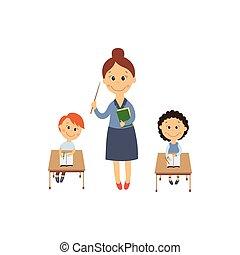 plat, vecteur, séance garçon, girl, bureau, prof