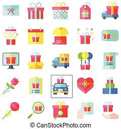 plat, vecteur, style, ensemble, cadeau, apparenté, 2, icône