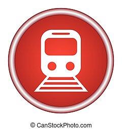 plat, vecteur, toile, mobile, app, illustration, bouton, train, conception, icône internet, cercle, rouges